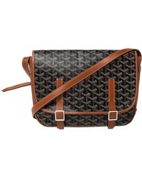Goyard Brown Ine Coated Canvas And Leather Belvedere Mm Saddle Bag