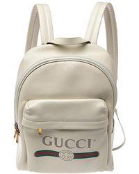 Gucci Cream White Leather Print Backpack - Multicolour