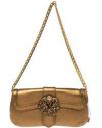 Roberto Cavalli Gold Leather Snake Metal Flap Baguette Shoulder Bag - Metallic