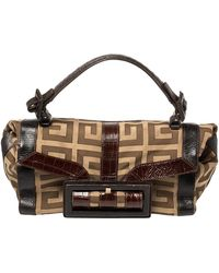 Givenchy Brown/beige Monogram Canvas And Exotic Embossed Leather Buckle Flap Top Handle Bag