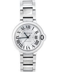 Cartier Silver Stainless Steel Ballon Bleu 3284 Wristwatch 36 Mm - Metallic