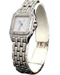 Cartier Pave Diamond 18k White Gold Diamond Panthere De Women's Wristwatch 22mm