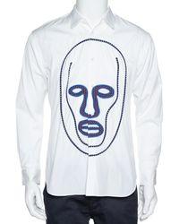 Comme des Garçons Comme Des Garcons White Cotton Face Motif Embroidered Shirt