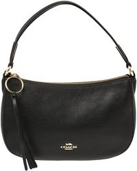 COACH Black Pebbled Leather Sutton Hobo