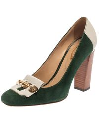 Tod's Two Tone Suede And Leather Loafer Pumps - Green