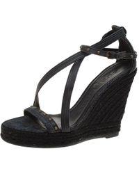 Burberry Black Denim Studded Espadrille Wedge Sandals Size 38
