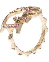 Dior Pink Crystal Studded Logo Gold Tone Ring Size 51 - Metallic