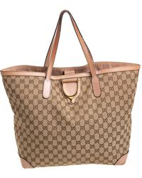 Gucci Beige GG Canvas And Leather Large D Ring Tote - Natural