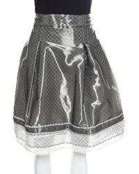 Chanel Grey And White Lace Trim Pleated Organza Skirt Xl - Gray