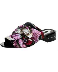Dolce & Gabbana Multicolor Floral Printed Fabric Crystal Embellished Bow Open Toe Flat Mules