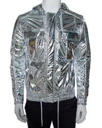 Balmain Metallic Synthetic Drawstring Hooded Jacket