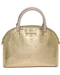 Michael Kors Michael Metallic Gold Mirror Leather Emmy Dome Satchel
