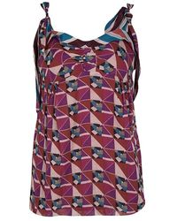 Marc Jacobs - Multicolor Geometric Print Sleeveless Tie Detail Cotton Top - Lyst