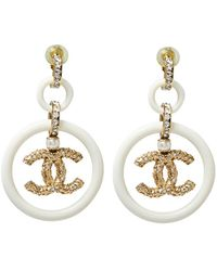 Chanel Cream Resin Crystal Embedded Cc Drop Clip On Earrings - Metallic
