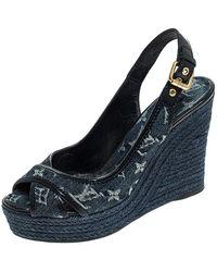 Louis Vuitton Denim Monogram Bastille Espadrilles Slingback Wedge Sandals Size 38.5 - Blue