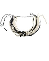 Chanel Faux Pearl Black Bead Multi Strand Tassel Necklace