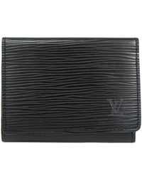 Louis Vuitton Noir Epi Leather Enveloppe Cartes De Visite Card Case - Black