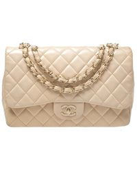 Chanel Cream Quilted Leather Jumbo Classic Single Flap Bag - Natural