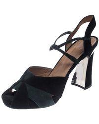 Marni Black/green Suede Peep Toe Sandals