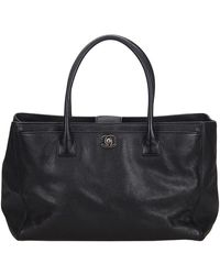 Chanel Black Caviar Leather Executive Cerf Tote Bag