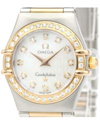 Omega Mop Diamonds 18k Rose Gold And Stainless Steel Constellation Quartz 1360.75 Wristwatch 26 Mm - White