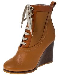 Chloé Brown Leather Lace Up Wedge Ankle Boots