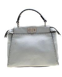Fendi Silver Leather Selleria Mini Peekaboo Top Handle Bag - Metallic