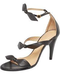 Chloé - Black Leather Bow Ankle Strap Sandals - Lyst