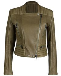 Balmain - Olive Green Zipper Detail Leather Cropped Jacket M - Lyst