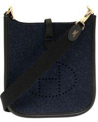 Hermès Blue Nuit/black Feutre And Swift Leather Evelyne I Tpm Bag