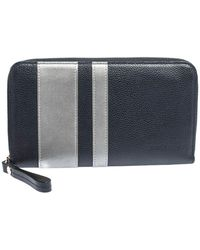 Longchamp Blue/grey Striped Leather Le Foulonne City Zip Around Wallet