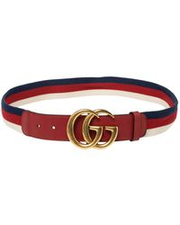 Gucci Red Canvas And Leather Web GG Buckle Belt