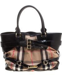 Burberry - House Check Fabric And Leather Small Gladstone Tote - Lyst