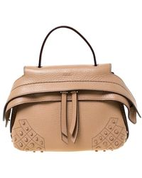 Tod's Beige Leather Wave Top Handle Bag - Natural