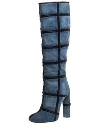 Tom Ford Denim Fabric And Leather Trim Patchwork Knee Length Boots Size 39 - Blue