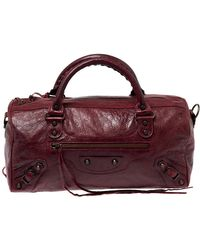 Balenciaga Grenat Leather Rh Twiggy Satchel - Red