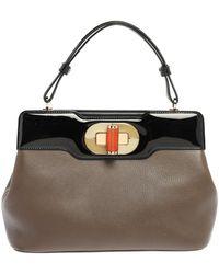BVLGARI Brown/black Patent And Leather Isabella Rossellini Top Handle Bag
