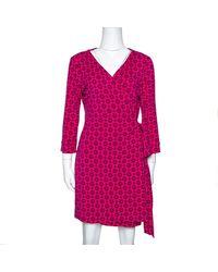 Diane von Furstenberg Pink Floral Print New Julian Two Mini Wrap Dress M