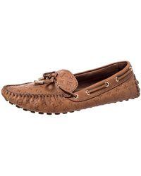 Louis Vuitton Brown Monogram Empreinte Leather Gloria Flat Loafers Size 39