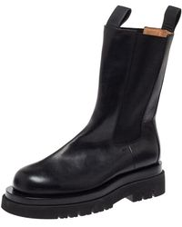 Bottega Veneta Black Leather Platform Chelsea Boots