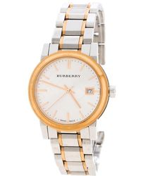 Burberry - White Two Tone Stainless Steel Bu9105 Women's Wristwatch 34mm - Lyst