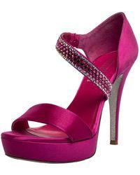 Loriblu Fuchsia Satin Crystal Embellished Open Toe Platform Sandals - Pink