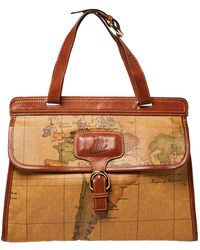Alviero Martini 1A Classe Tan Geo Print Coated Canvas And Leather Buckle Flap Shoulder Bag - Brown