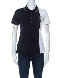 CH by Carolina Herrera Carolina Herrera Navy Blue And White Polka Dot Colorblock Knit Polo T Shirt S