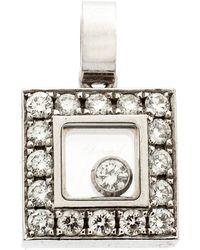Chopard Happy Diamond 18k White Gold Square Pendant - Metallic