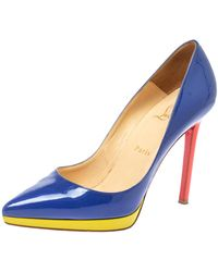 Christian Louboutin Blue Patent Leather Pigalle Plato Court Shoes