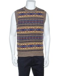 DSquared² Taupe Jacquard Wool Sleeveless Sweater - Brown