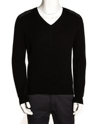 Gucci Black Cashmere Wool Leather Patch Detail V Neck Sweater