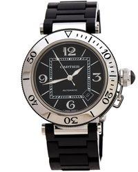 Cartier Black Stainless Steel Rubber Pasha De 2790 Wristwatch 40.50 Mm
