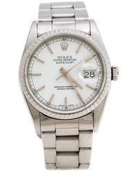 Rolex White Stainless Steel Datejust 16220 Men's Wristwatch 36 Mm